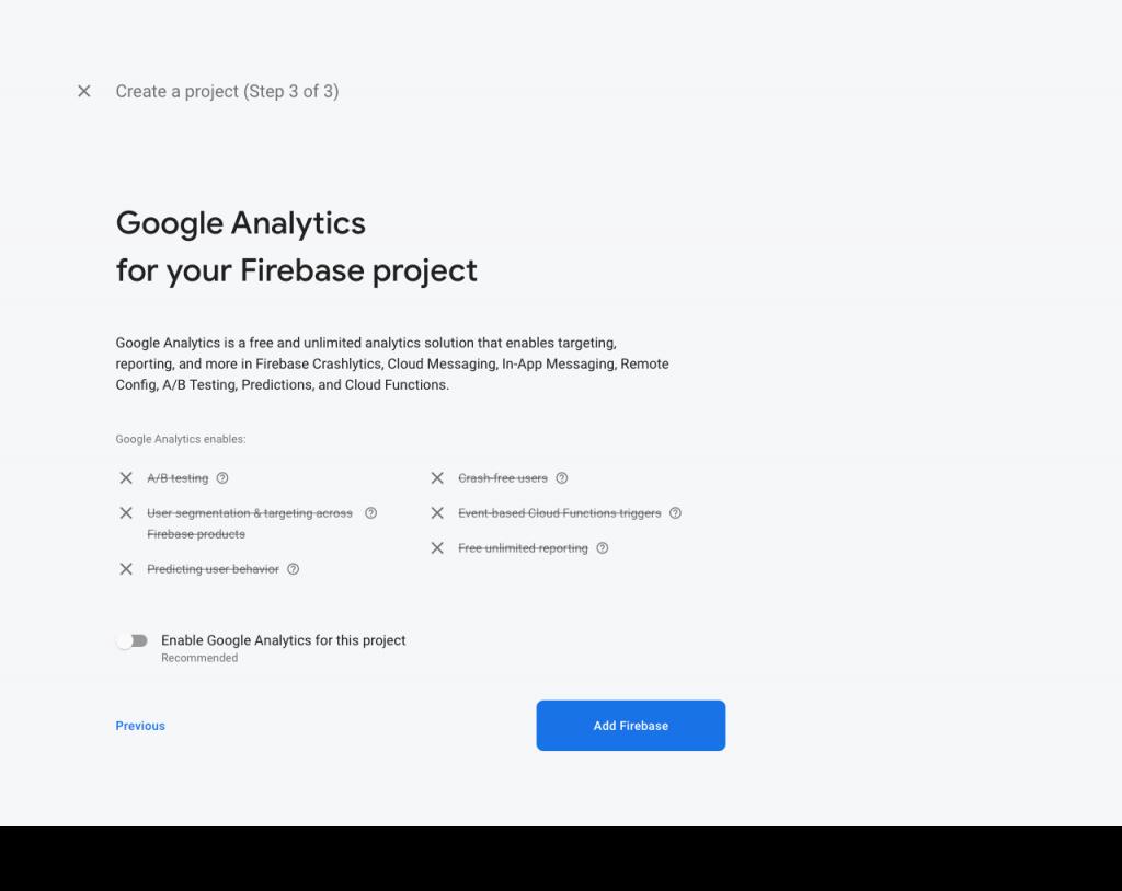 Finish creating Firebase project
