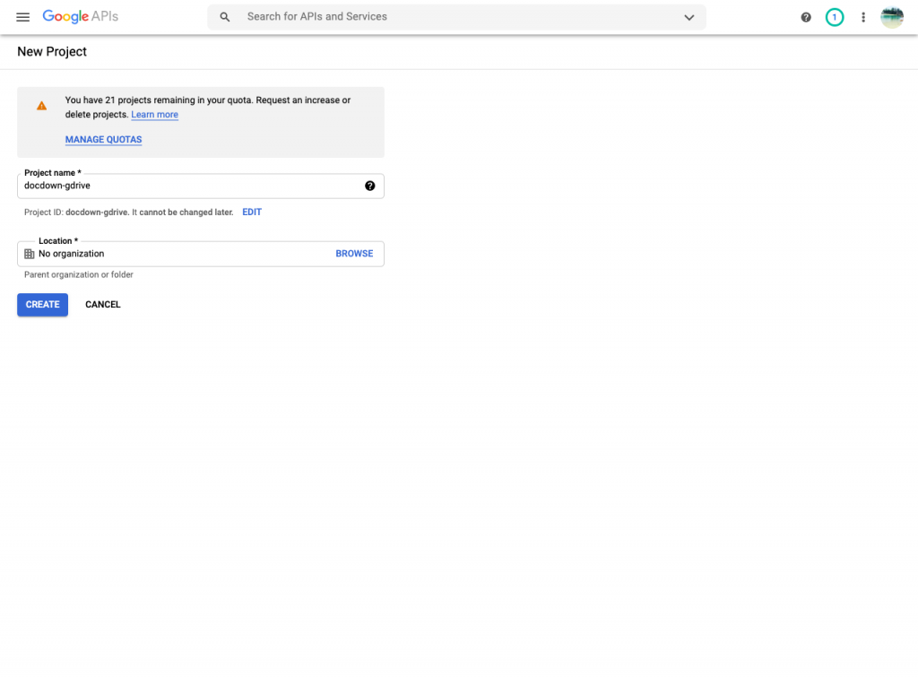 Creating a new project in Google Developers Console