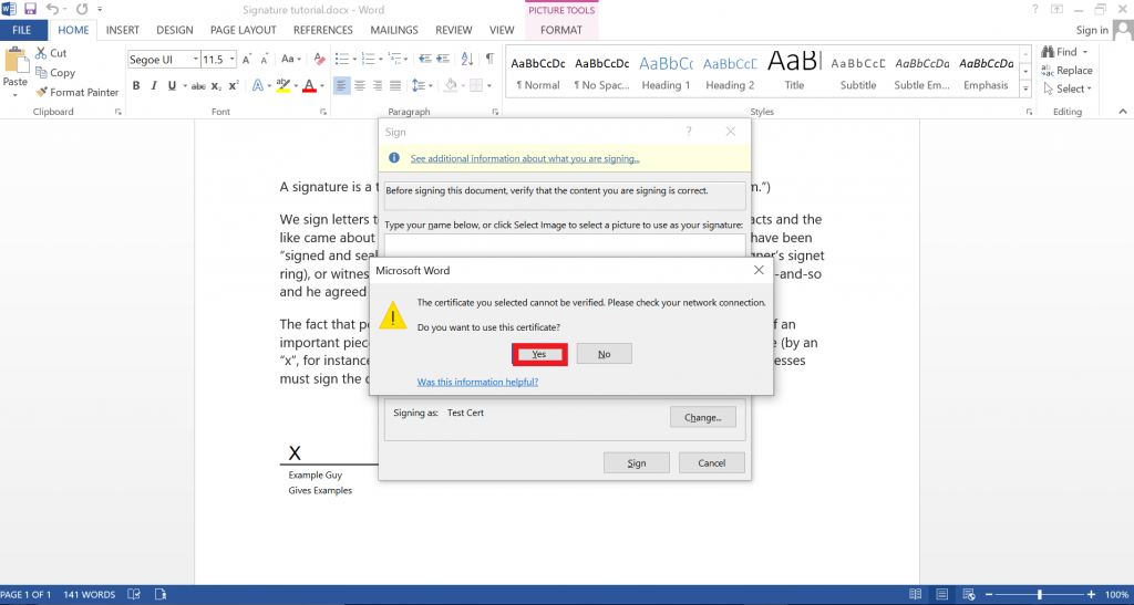 Confirmation sign that appears when certificate can't be verified