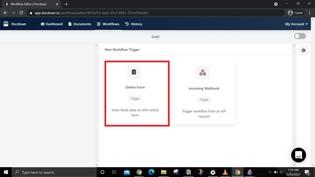"Select ""Online Form"" option"