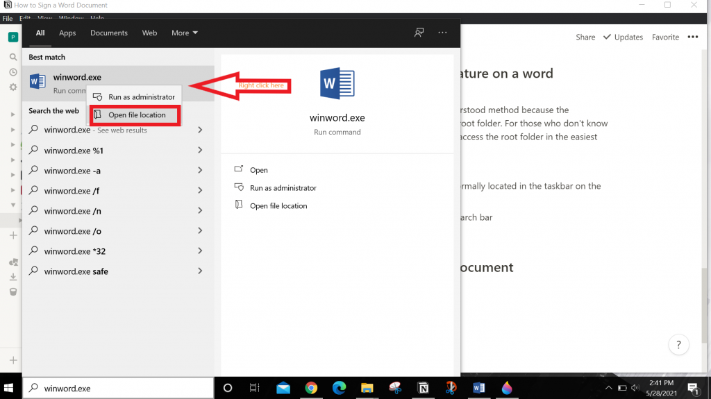 Helps user to open word's file location