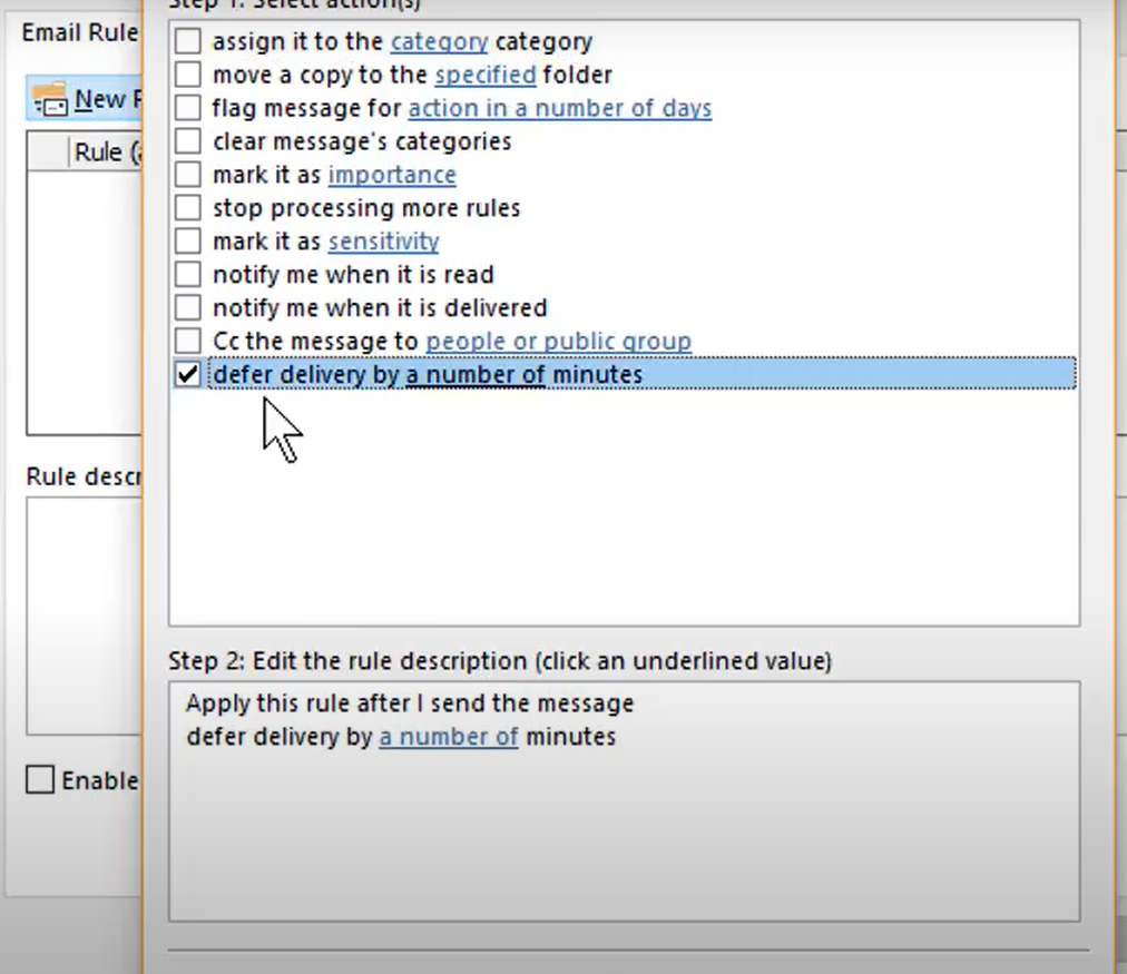Find the option to delay delivery of messages