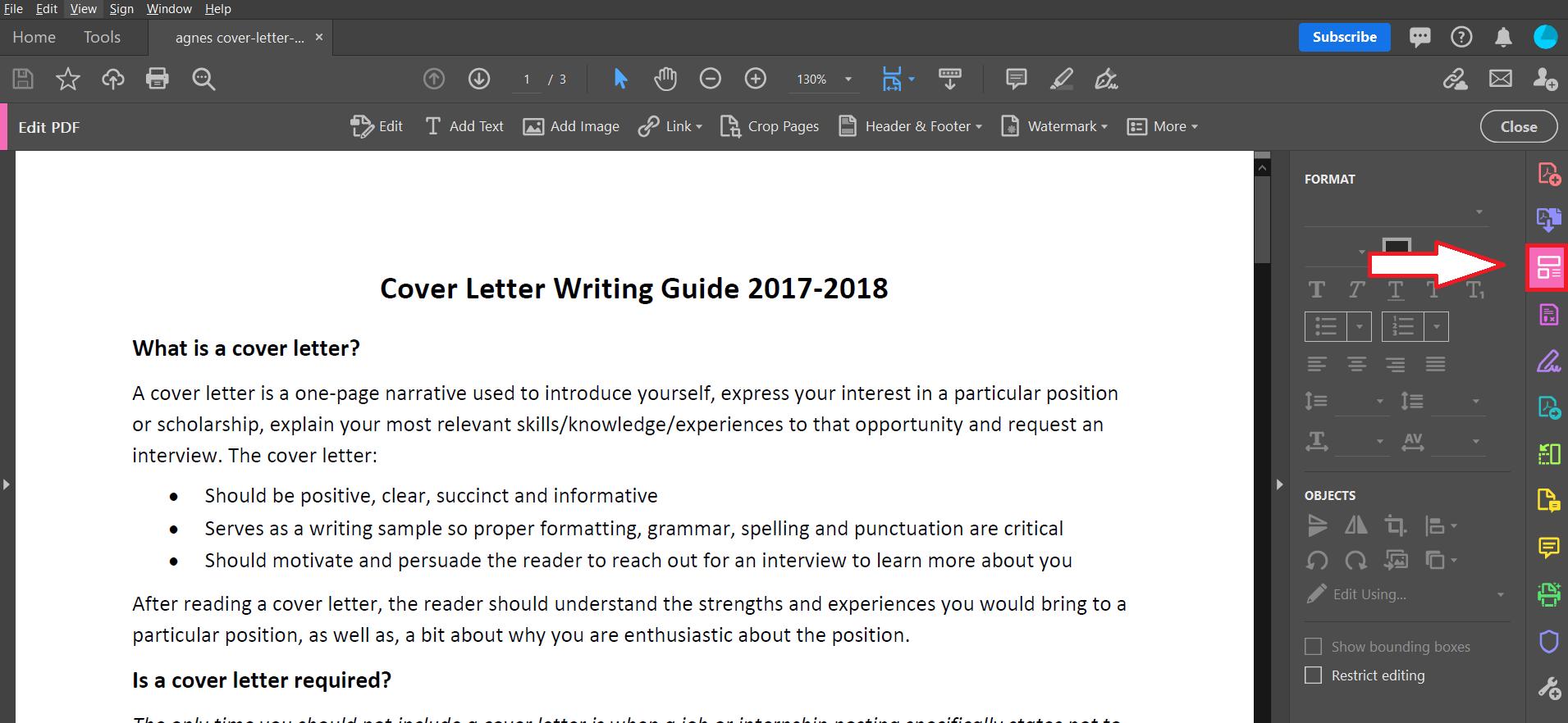 Edit PDF tool