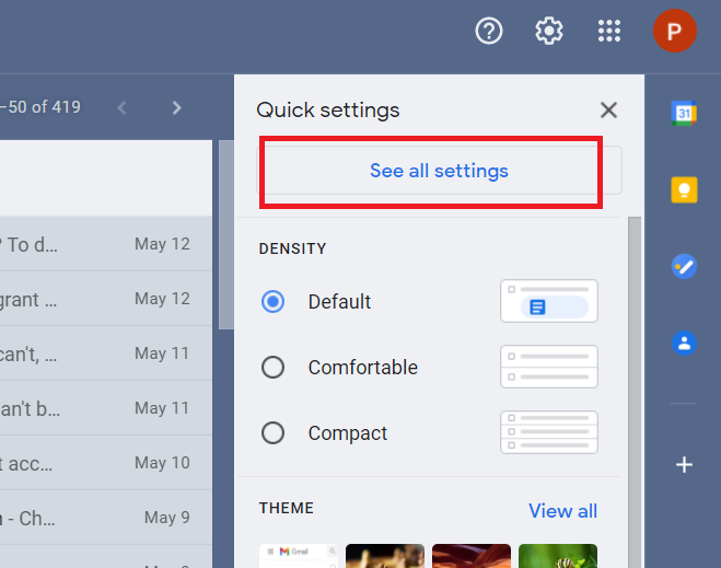 'See all settings' expands all available settings