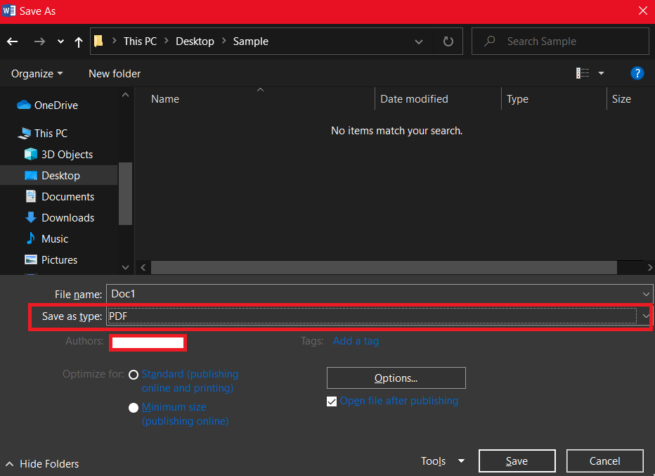 Shows PDF option while saving