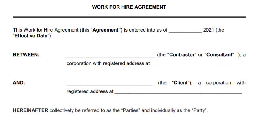 Describes start of contract