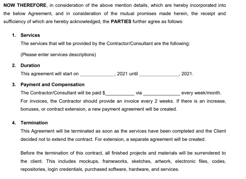 Shows second portion of contract