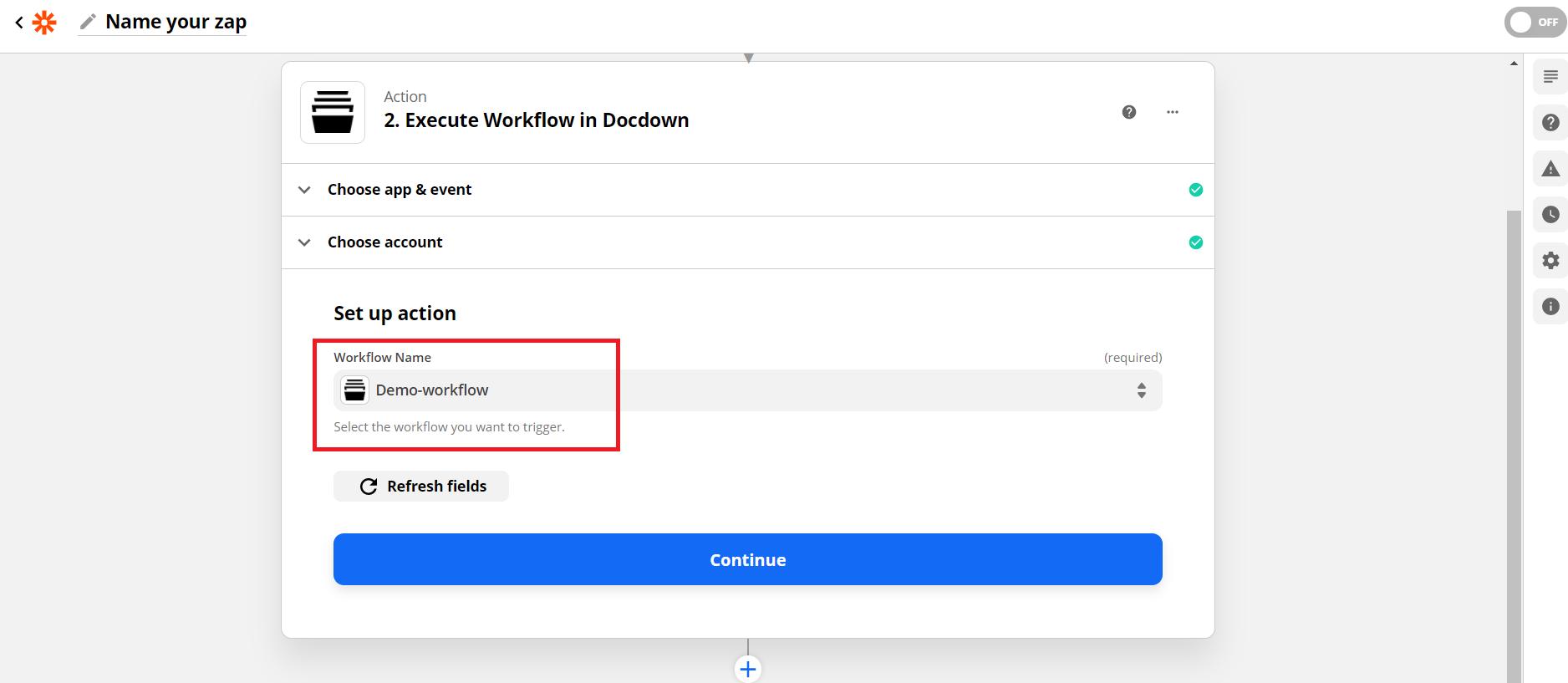 set workflow name