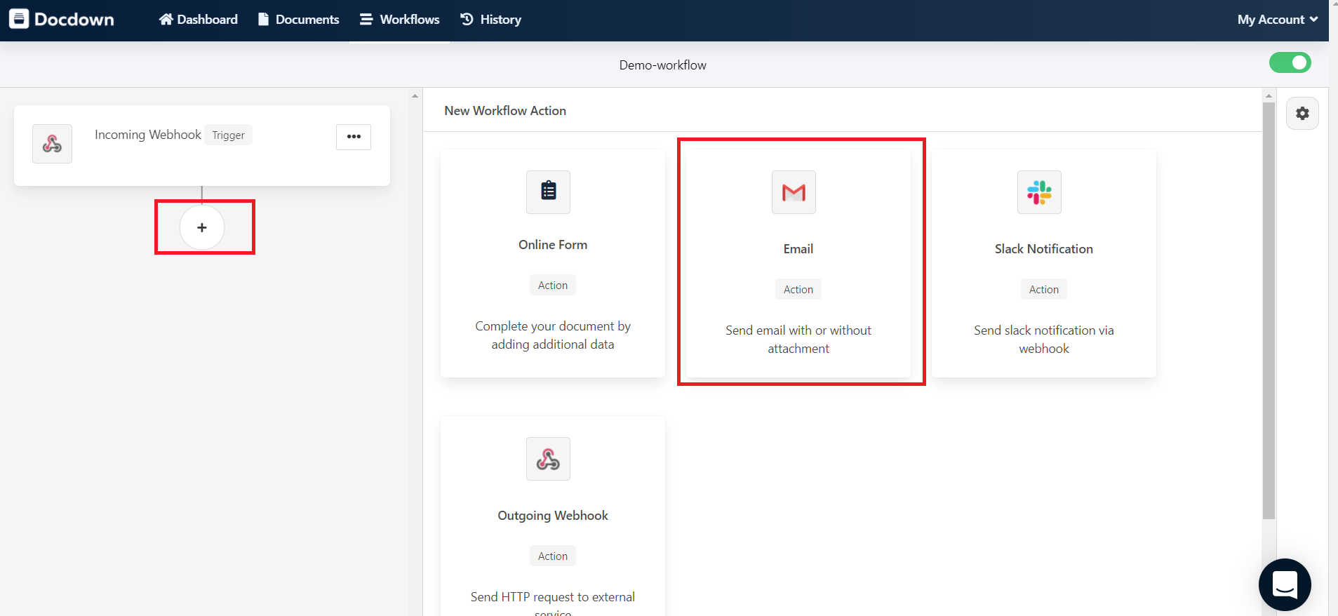 add email to workflow